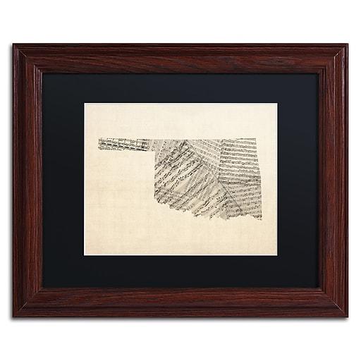 "Trademark Fine Art ''Old Sheet Music Map of Oklahoma'' by Michael Tompsett 11""x14"" Wood Frame (MT0756-W1114BMF)"