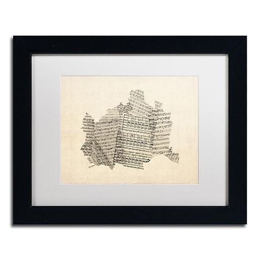 "Trademark Fine Art ''Old Sheet Music Map of Vienna'' by Michael Tompsett 11""x14"" Black Frame (MT0757-B1114MF)"