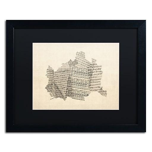 "Trademark Fine Art ''Old Sheet Music Map of Vienna'' by Michael Tompsett 16"" x 20"" Black Frame (MT0757-B1620BMF)"