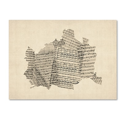 "Trademark Fine Art ''Old Sheet Music Map of Vienna Austria'' by Michael Tompsett 24"" x 32"" Canvas (MT0757-C2432GG)"