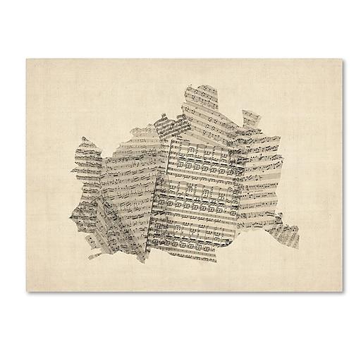 "Trademark Fine Art ''Old Sheet Music Map of Vienna Austria'' by Michael Tompsett 18"" x 24"" Canvas (MT0757-C1824GG)"