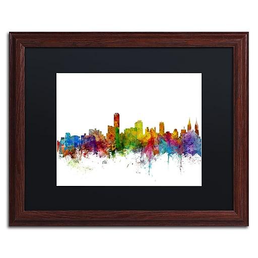 "Trademark Fine Art ''Adelaide Australia Skyline II'' by Michael Tompsett 16"" x 20"" Wood Frame (MT0759-W1620BMF)"