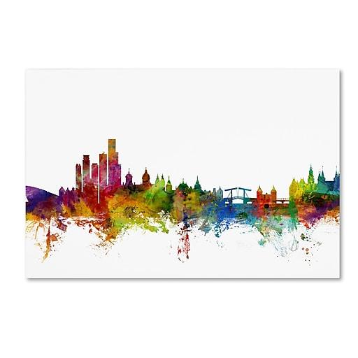 "Trademark Fine Art ''Amsterdam The Netherlands Skyline'' by Michael Tompsett 16"" x 24"" Canvas Art (MT0760-C1624GG)"
