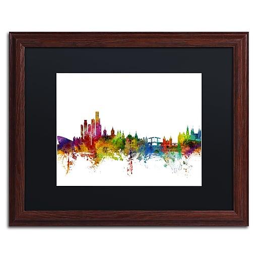 "Trademark Fine Art ''Amsterdam Skyline II'' by Michael Tompsett 16"" x 20"" Black Matted Wood Frame (MT0760-W1620BMF)"