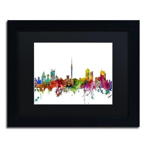 "Trademark Fine Art ''Auckland New Zealand Skyline'' by Michael Tompsett 11"" x 14"" Black Frame (MT0761-B1114BMF)"