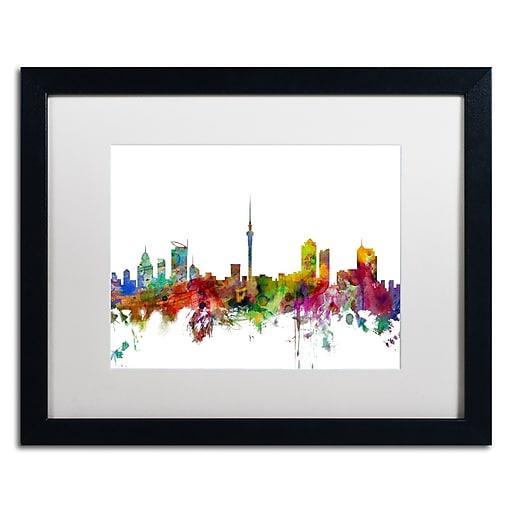 "Trademark Fine Art ''Auckland New Zealand Skyline'' by Michael Tompsett 16"" x 20"" Black Frame (MT0761-B1620MF)"