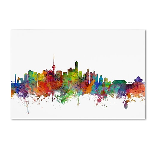 "Trademark Fine Art ''Beijing China Skyline'' by Michael Tompsett 30"" x 47"" Canvas Art (MT0762-C3047GG)"