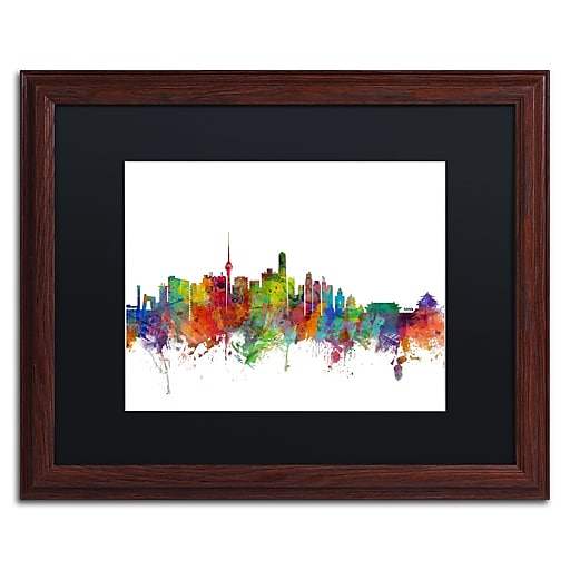 "Trademark Fine Art ''Beijing China Skyline II'' by Michael Tompsett 16"" x 20"" Black Matted Wood Frame (MT0762-W1620BMF)"