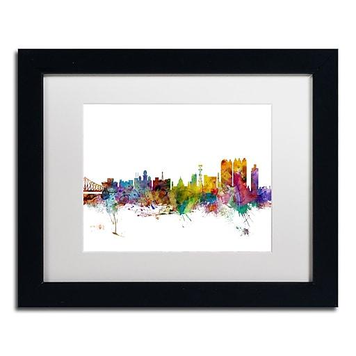 "Trademark Fine Art ''Calcutta India Skyline'' by Michael Tompsett 11"" x 14"" Black Frame (MT0766-B1114MF)"