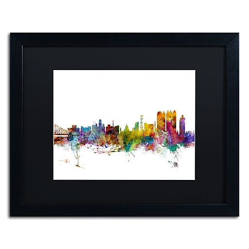 "Trademark Fine Art ''Calcutta India Skyline'' by Michael Tompsett 16"" x 20"" Black Matted Black Frame (MT0766-B1620BMF)"