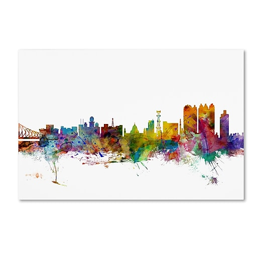 "Trademark Fine Art ''Calcutta India Skyline'' by Michael Tompsett 30"" x 47"" Canvas Art (MT0766-C3047GG)"