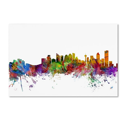 "Trademark Fine Art ''Calgary Canada Skyline'' by Michael Tompsett 30"" x 47"" Canvas Art (MT0767-C3047GG)"