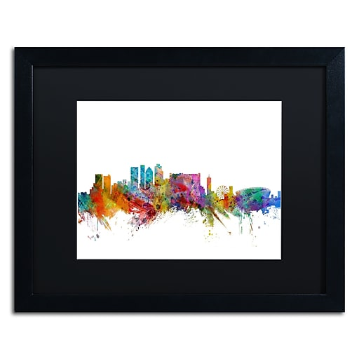 "Trademark Fine Art ''Cape Town South Africa Skyline'' by Michael Tompsett 16"" x 20"" Black Matted Black Frame (MT0769-B1620BMF)"