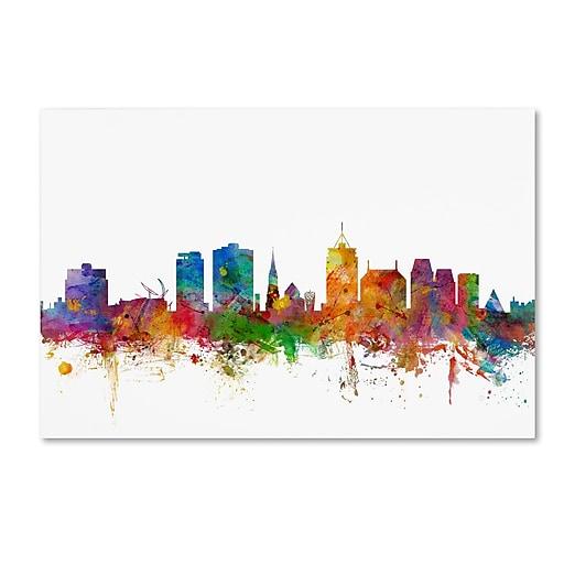 """Trademark Fine Art ''Christchurch New Zealand Skyline'' by Michael Tompsett 30"""" x 47"""" Canvas Art (MT0770-C3047GG)"""