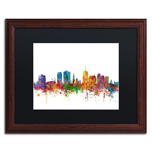 "Trademark Fine Art ''Christchurch Skyline II'' by Michael Tompsett 16"" x 20"" Black Matted Wood Frame (MT0770-W1620BMF)"