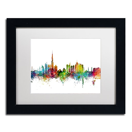 "Trademark Fine Art ''Dubai Skyline'' by Michael Tompsett 11"" x 14"" White Matted Black Frame (MT0771-B1114MF)"