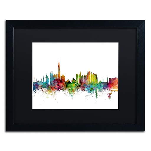 "Trademark Fine Art ''Dubai Skyline'' by Michael Tompsett 16"" x 20"" Black Matted Black Frame (MT0771-B1620BMF)"