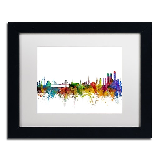 "Trademark Fine Art ''Istanbul Turkey Skyline II'' by Michael Tompsett 11"" x 14"" Black Frame (MT0773-B1114MF)"