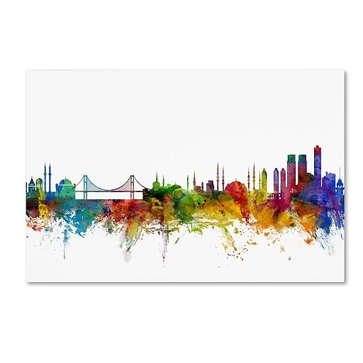 "Trademark Fine Art ''Istanbul Turkey Skyline'' by Michael Tompsett 16"" x 24"" Canvas Art (MT0773-C1624GG)"