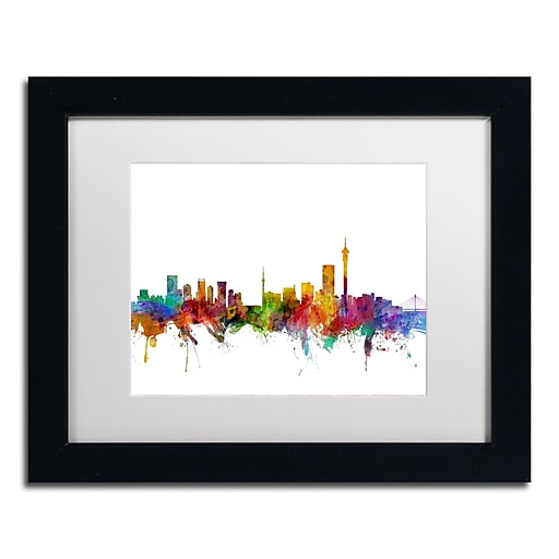 "Trademark Fine Art ''Johannesburg South Africa Skyline'' by Michael Tompsett 11"" x 14""  Black Frame (MT0774-B1114MF)"
