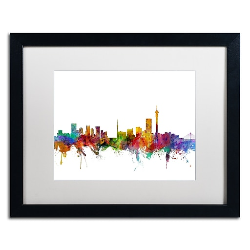 """Trademark Fine Art ''Johannesburg South Africa Skyline'' by Michael Tompsett 16"""" x 20"""" Black Frame (MT0774-B1620MF)"""