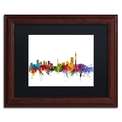 "Trademark Fine Art ''Johannesburg South Africa Skyline'' by Michael Tompsett 11"" x 14"" Wood Frame (MT0774-W1114BMF)"