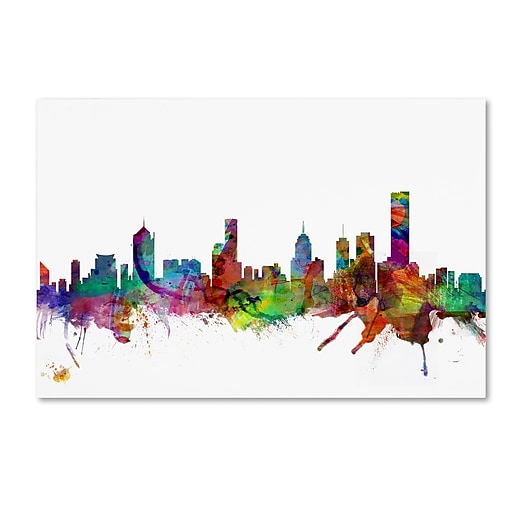 "Trademark Fine Art ''Melbourne Skyline'' by Michael Tompsett 16"" x 24"" Canvas Art (MT0776-C1624GG)"
