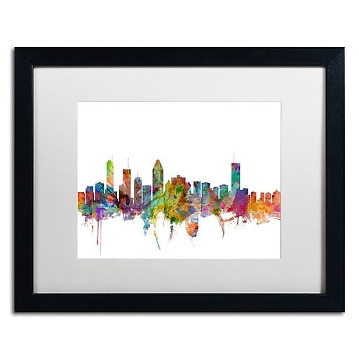 "Trademark Fine Art ''Montreal Canada Skyline'' by Michael Tompsett 16"" x 20"" White Matted Black Frame (MT0777-B1620MF)"