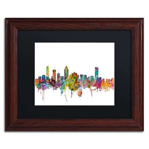 "Trademark Fine Art ''Montreal Canada Skyline'' by Michael Tompsett 11"" x 14""Wood Frame (MT0777-W1114BMF)"