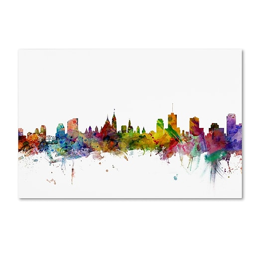 "Trademark Fine Art ''Ottawa Canada Skyline'' by Michael Tompsett 12"" x 19"" Canvas Art (MT0779-C1219GG)"