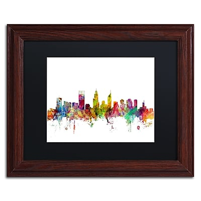 "Trademark Fine Art ''Perth Australia Skyline'' by Michael Tompsett 11"" x 14""Wood Frame (MT0780-W1114BMF)"