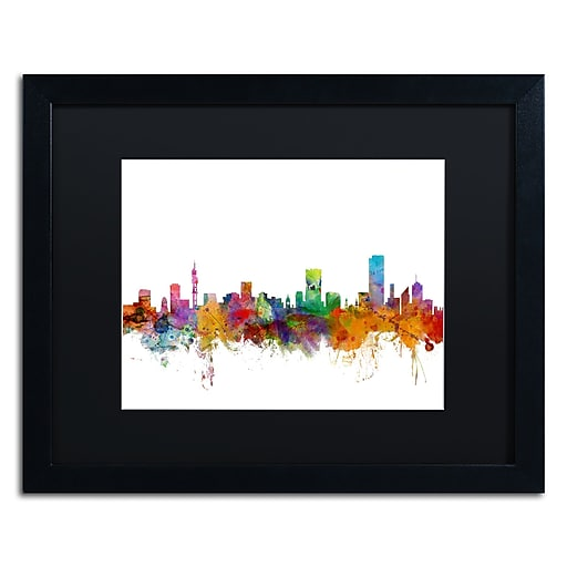 "Trademark Fine Art ''Pretoria South Africa Skyline'' by Michael Tompsett 16"" x 20"" Black Matted Black Frame (MT0781-B1620BMF)"