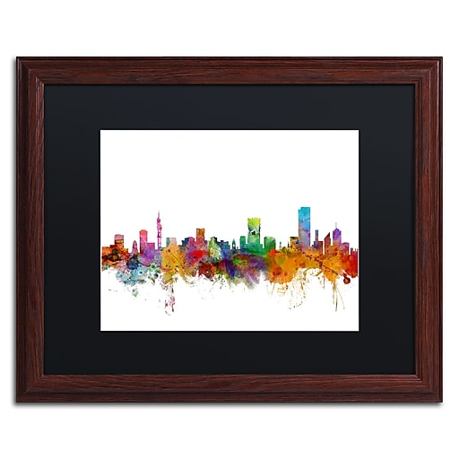 "Trademark Fine Art ''Pretoria South Africa Skyline'' by Michael Tompsett 16"" x 20"" Black Matted Wood Frame (MT0781-W1620BMF)"