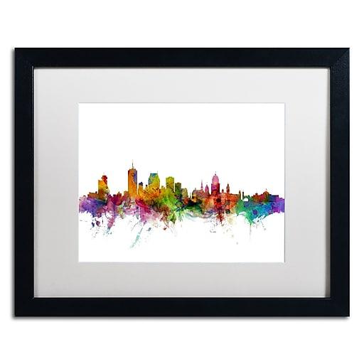 "Trademark Fine Art ''Quebec Canada Skyline'' by Michael Tompsett 16"" x 20"" White Matted Black Frame (MT0782-B1620MF)"