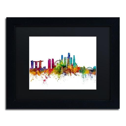 "Trademark Fine Art ''Singapore Skyline II'' by Michael Tompsett 11"" x 14""Black Frame (MT0783-B1114BMF)"