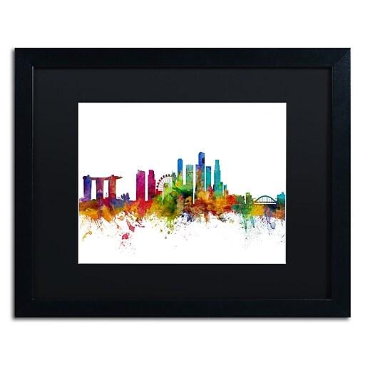 "Trademark Fine Art ''Singapore Skyline II'' by Michael Tompsett 16"" x 20"" Black Matted Black Frame (MT0783-B1620BMF)"