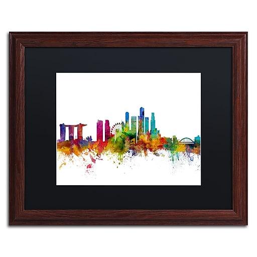 "Trademark Fine Art ''Singapore Skyline II'' by Michael Tompsett 16"" x 20"" Black Matted Wood Frame (MT0783-W1620BMF)"