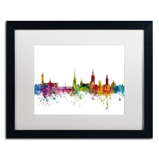 """Trademark Fine Art ''Stockholm Sweden Skyline'' by Michael Tompsett 16"""" x 20"""" White Matted Black Frame (MT0784-B1620MF)"""