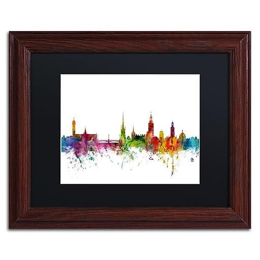 "Trademark Fine Art ''Stockholm Sweden Skyline'' by Michael Tompsett 11"" x 14""Wood Frame (MT0784-W1114BMF)"