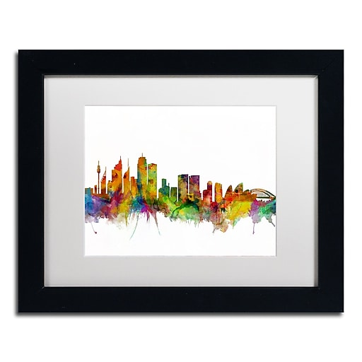 "Trademark Fine Art ''Sydney Australia Skyline IV'' by Michael Tompsett 11"" x 14"" Black Frame (MT0785-B1114MF)"