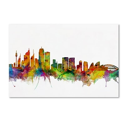 "Trademark Fine Art ''Sydney Australia Skyline'' by Michael Tompsett 30"" x 47"" Canvas Art (MT0785-C3047GG)"