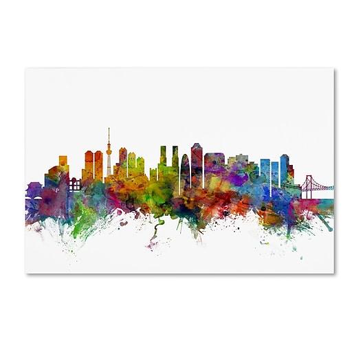 "Trademark Fine Art ''Tokyo Japan Skyline'' by Michael Tompsett 12"" x 19"" Canvas Art (MT0786-C1219GG)"