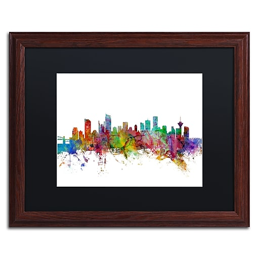 "Trademark Fine Art ''Vancouver Canada Skyline'' by Michael Tompsett 16"" x 20"" Black Matted Wood Frame (MT0788-W1620BMF)"