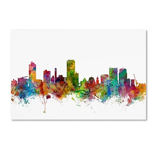 "Trademark Fine Art ''Wellington New Zealand Skyline'' by Michael Tompsett 30"" x 47"" Canvas Art (MT0790-C3047GG)"
