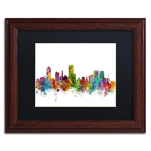"Trademark Fine Art ''Wellington New Zealand Skyline II'' by Michael Tompsett 11"" x 14""Wood Frame (MT0790-W1114BMF)"