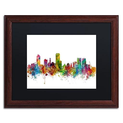 "Trademark Fine Art ''Wellington New Zealand Skyline II'' by Michael Tompsett 16"" x 20"" Wood Frame (MT0790-W1620BMF)"