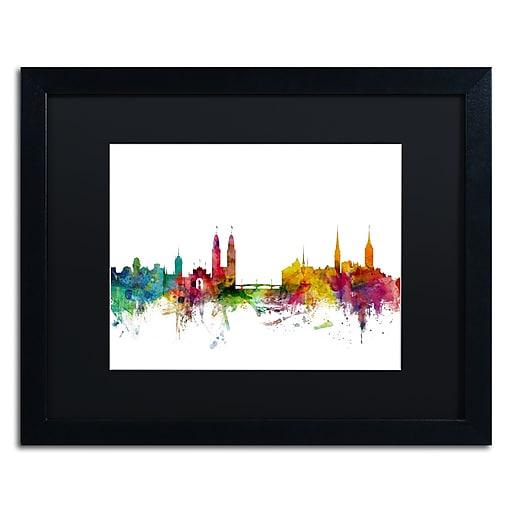 """Trademark Fine Art ''Zurich Switzerland Skyline II'' by Michael Tompsett 16"""" x 20"""" Black Matted Black Frame (MT0792-B1620BMF)"""