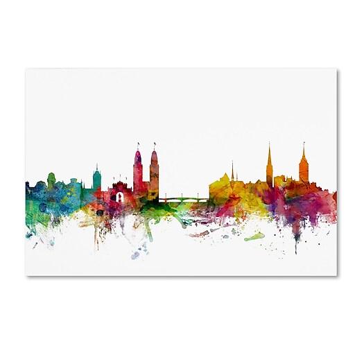 """Trademark Fine Art ''Zurich Switzerland Skyline'' by Michael Tompsett 12"""" x 19"""" Canvas Art (MT0792-C1219GG)"""
