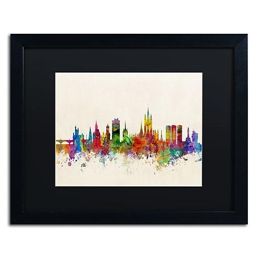 "Trademark Fine Art ''Aberdeen Scotland Skyline'' by Michael Tompsett 16"" x 20"" Black Matted Black Frame (MT0793-B1620BMF)"