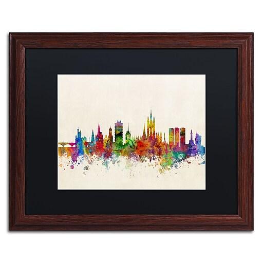 "Trademark Fine Art ''Aberdeen Scotland Skyline'' by Michael Tompsett 16"" x 20"" Black Matted Wood Frame (MT0793-W1620BMF)"
